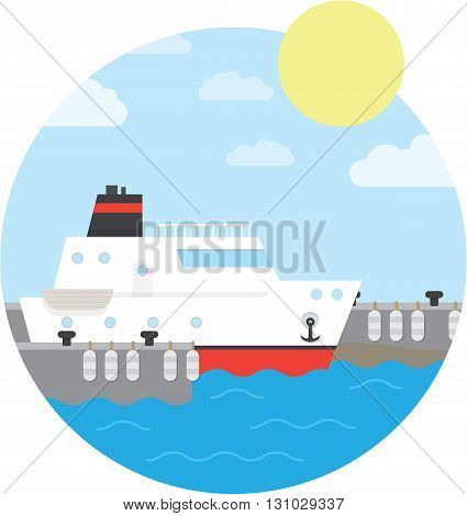 Cruise ship in the port. Yacht on the water. Vector illustration of round background.