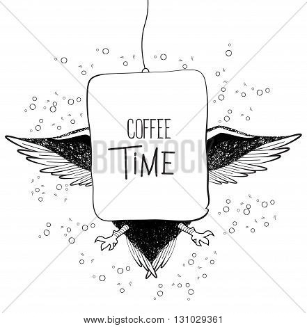 Coffee time owl in binoculars. Vector doodle illustration on white background. Sketch