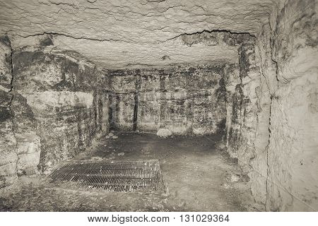 Old grunge terrible room with concrete walls.