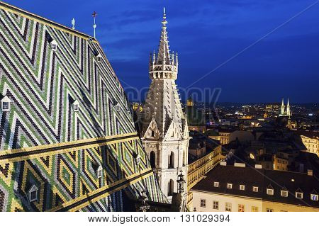 Roof of St. Stephen's Cathedral in Vienna. Vienna Austria.