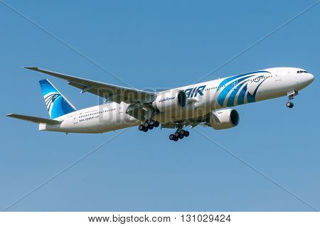 London, UK, April 9th 2011: a Boeing 777 of national airline Egyptair in short final for landing at Heathrow.