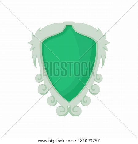 Shield with ornaments icon in cartoon style isolated on white background. Protection and security symbol