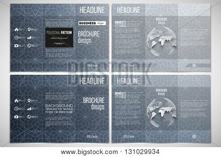 Vector set of tri-fold brochure design template on both sides with world globe element. Abstract floral business background, modern stylish vector texture.