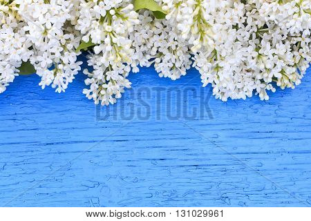 festive background of white  lilac on blue wooden surface