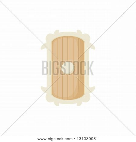 Shield of wood icon in cartoon style isolated on white background. Protection and security symbol