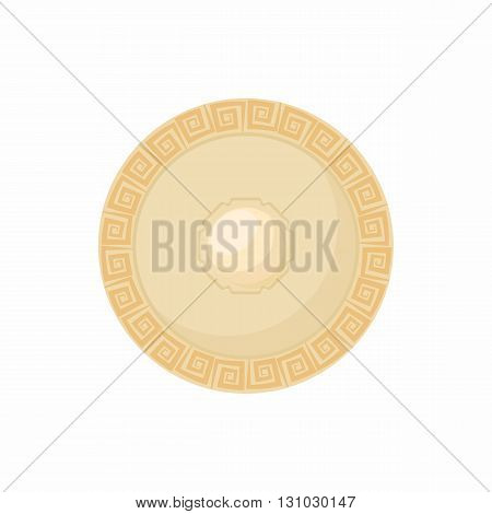 Shield with carved pattern icon in cartoon style isolated on white background. Protection and security symbol