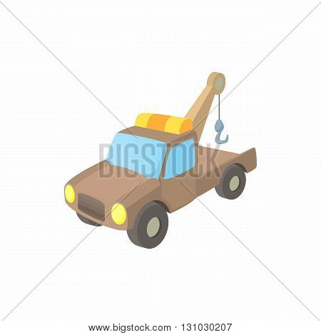 Evacuator icon in cartoon style isolated on white background. Transport and service symbol