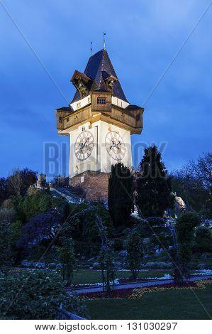 The Uhrturm in Graz. Graz Styria Austria.