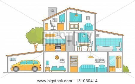Interiors room with furniture. Flat style vector illustration.