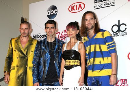 LAS VEGAS - MAY 22:  DNCE, Cole Whittle, Joe Jonas, JinJoo Lee, Jack Lawless at the Billboard Music Awards 2016 at the T-Mobile Arena on May 22, 2016 in Las Vegas, NV