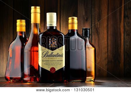 POZNAN POLAND - MAY 18 2016: Ballantine's is the world's second highest selling scotch whisky produced by Pernod Ricard in Dumbarton Scotland