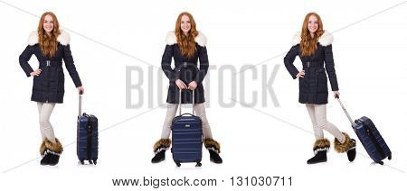 Woman with suitcase preparing for winter vacation