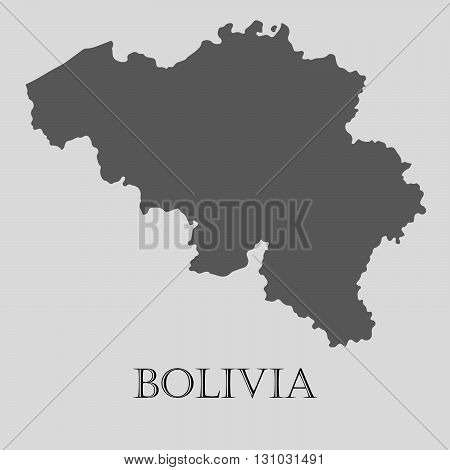 Black Bolivia map on light grey background. Black Bolivia map - vector illustration.