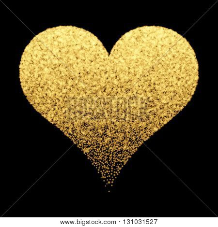 Decorative background with gold sparkle heart design