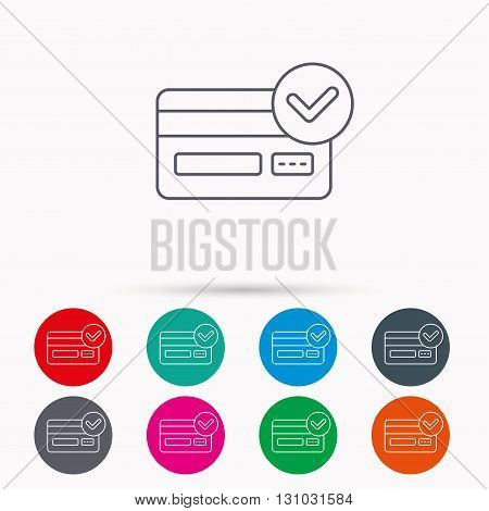 Approved credit card icon. Shopping sign. Linear icons in circles on white background.