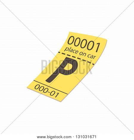 Parking ticket icon in cartoon style isolated on white background. Transport and service symbol