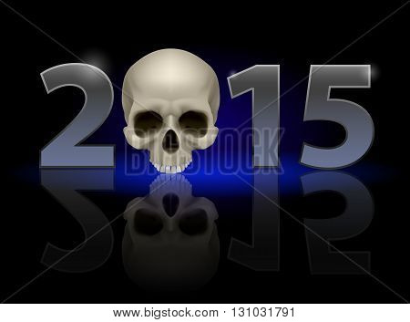 2015: metal numerals with skull instead of zero having weak reflection. Illustration on black background.