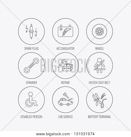 Accumulator, spanner tool and car service icons. Repair toolbox, wheel and spark plug linear signs. Disabled person, battery terminal icons. Linear colored in circle edge icons.