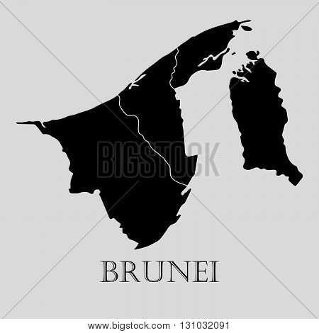Black Brunei map on light grey background. Black Brunei map - vector illustration.