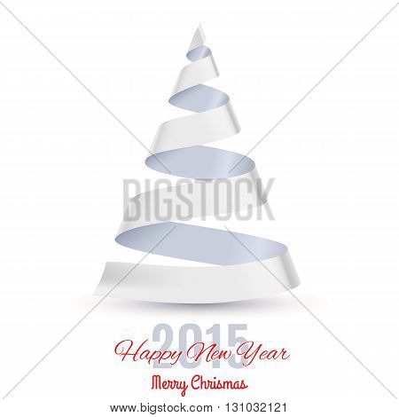 White ribbon Christmas tree on white background. Greeting card 2015.