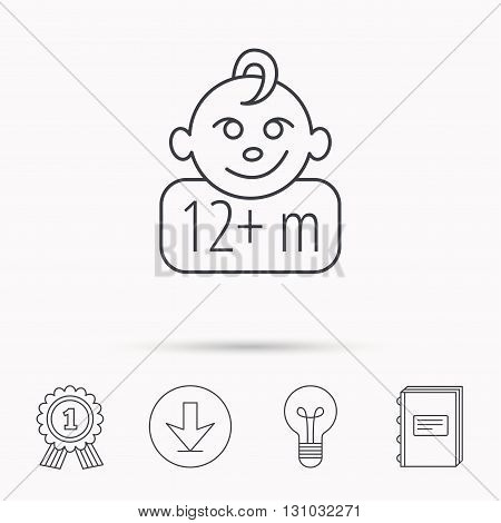 Baby face icon. Newborn child sign. Use of twelve months and plus symbol. Download arrow, lamp, learn book and award medal icons.