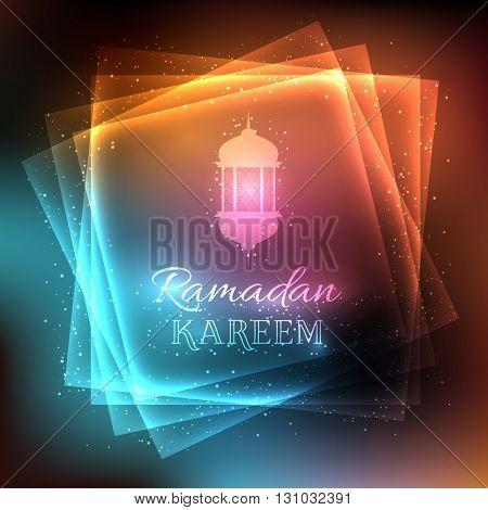 Decorative background for Ramadan with glowing lights