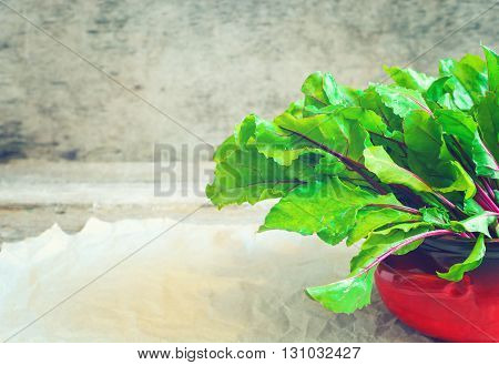 Fresh beet root leaves in red pot on rustic background.