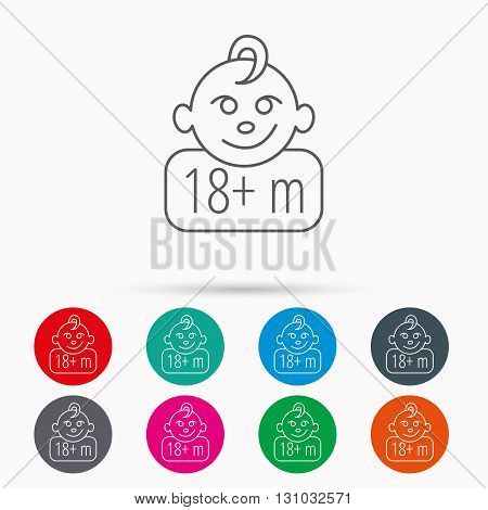 Baby face icon. Newborn child sign. Use of one and half year and plus symbol. Linear icons in circles on white background.