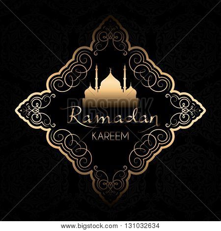 Ramadan Kareem background with stylish gold and black design