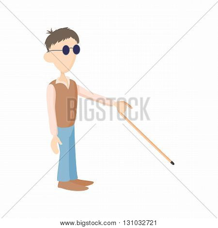 Blind man with cane icon in cartoon style isolated on white background. Disability and assistance symbol
