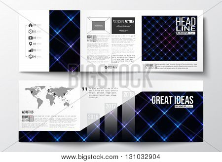 Vector set of tri-fold brochures, square design templates with element of world map. Abstract polygonal background, modern stylish sguare vector texture.