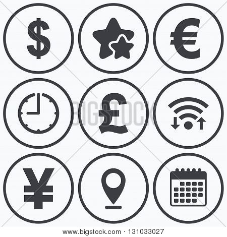 Clock, wifi and stars icons. Dollar, Euro, Pound and Yen currency icons. USD, EUR, GBP and JPY money sign symbols. Calendar symbol.