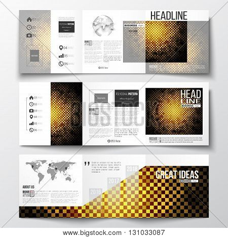 Vector set of tri-fold brochures, square design templates with element of world map and globe. Abstract polygonal background, modern stylish sguare design golden vector texture.