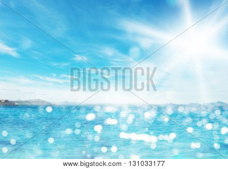 Background of clear sea and sunny skies