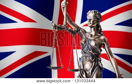 Themis With Scale, Symbol Of Justice On Uk Flag Background