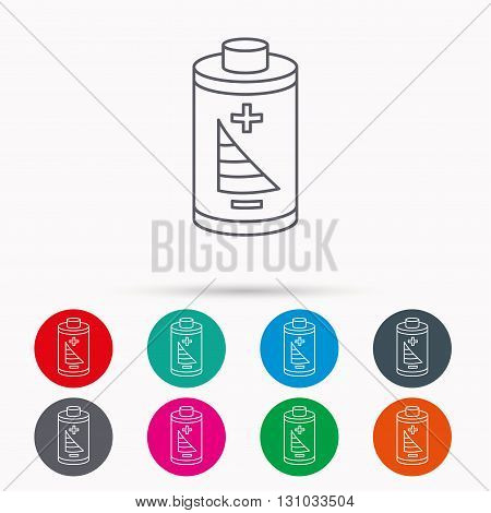 Battery icon. Electrical power sign. Rechargeable energy symbol. Linear icons in circles on white background.