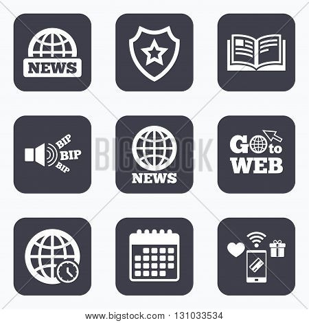 Mobile payments, wifi and calendar icons. News icons. World globe symbols. Open book sign. Education literature. Go to web symbol.