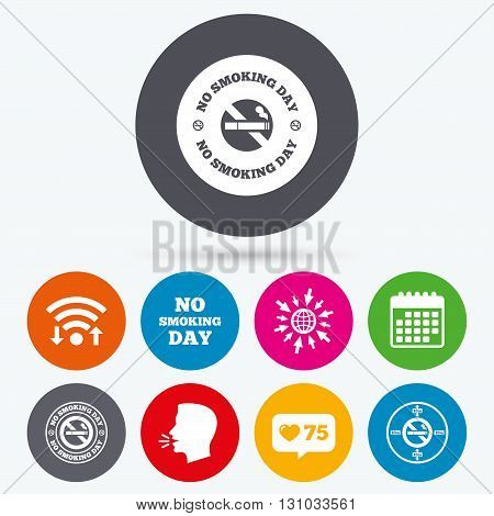 Wifi, like counter and calendar icons. No smoking day icons. Against cigarettes signs. Quit or stop smoking symbols. Human talk, go to web.