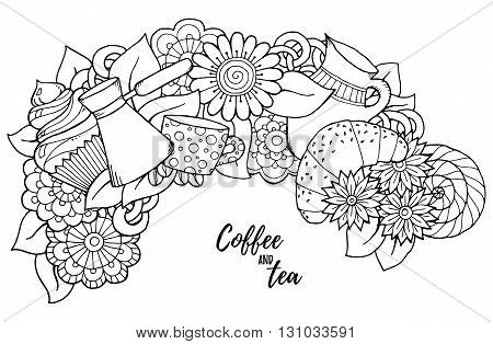 Breakfast theme. Pattern with coffee cezve pot jug tea cup croissant cupcake sweets and flowers. Tea and coffee hand drawn pattern. Background for coloring book pages for adults and kids.
