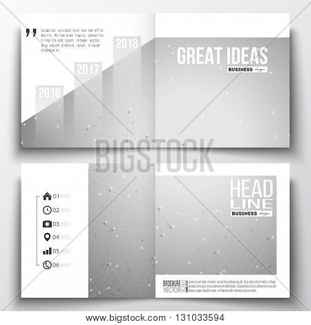 Set of annual report business templates for brochure, magazine, flyer or booklet. Molecular construction with connected lines and dots, scientific or digital design pattern on gray background.