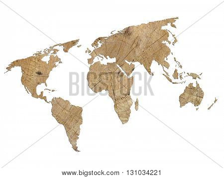 Outline map of World filled with wood texture isolated on white