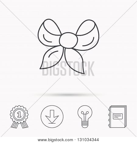 Gift bow icon. Present decoration sign. Ribbon for packaging symbol. Download arrow, lamp, learn book and award medal icons.