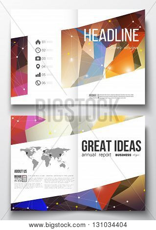 Set of business templates for brochure, magazine, flyer, booklet or annual report. Molecular construction with connected lines and dots, scientific pattern on abstract colorful polygonal background.