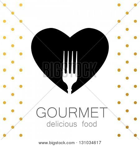 Heart with silhouette of a fork on a white background. Gourmet logo. Delicious food. Lovely food logo template. Love Food logo. Template logo for restaurant, cafe, fast food, store food.