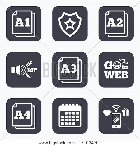Mobile payments, wifi and calendar icons. Paper size standard icons. Document symbols. A1, A2, A3 and A4 page signs. Go to web symbol.