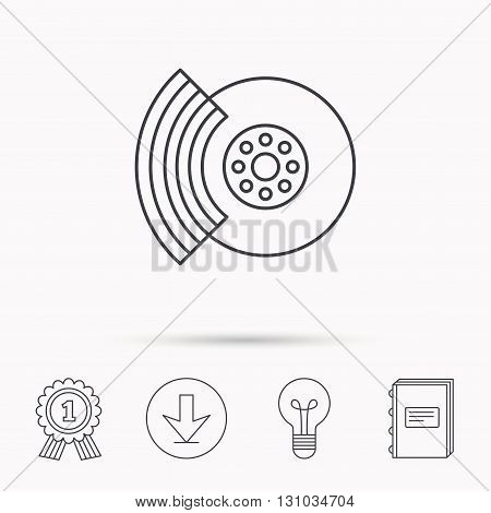 Brakes icon. Auto disk repair sign. Download arrow, lamp, learn book and award medal icons.