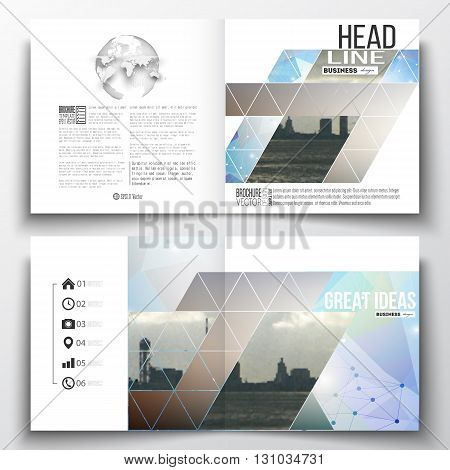 Vector set of square design brochure template. Abstract colorful polygonal backdrop with blurred image, modern stylish triangular vector texture.