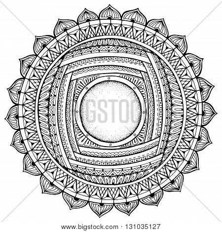 Mandala theme. Floral wreath pattern with dots lines and flowers. Black and white circle flower ornament. Floral mandala. Hand drawn ink pattern made by trace from personal sketch.