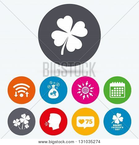 Wifi, like counter and calendar icons. Saint Patrick day icons. Money bag with clovers and coins sign. Symbol of good luck. Human talk, go to web.