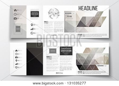 Vector set of tri-fold brochures, square design templates with element of world globe. Abstract blurred background, modern stylish dark vector texture.